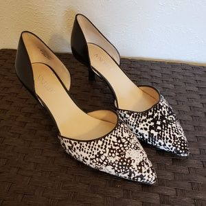 Nine West D'Orsay Pumps Black and White Sz 8.5